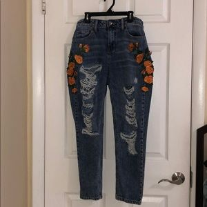 Floral Ripped Jeans Size 5